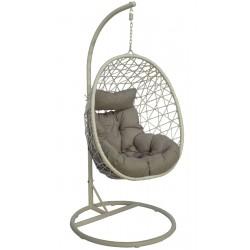Huśtawka fotel bujany wiszący kokon Lux biały szary