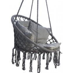 Hamak ażurowy fotel wiszący 80x60cm luxe z poduszką szary