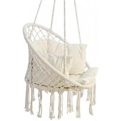 Hamak ażurowy fotel wiszący 80x60cm luxe z poduszką ecru
