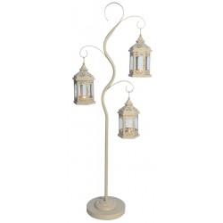 Drzewko dekoracyjne 125cm i 3 latarnie dekoracyjne 24cm - beżowe