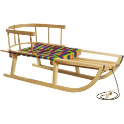 Sanki drewniane z oparciem i parcianym siedziskiem