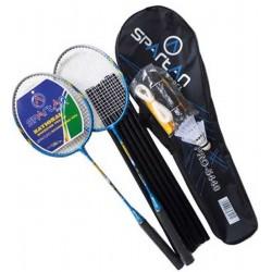 Zestaw do badmintona 5W1 słupki siatka rakiety lotki pokrowiec SPARTAN 300 DELUXE
