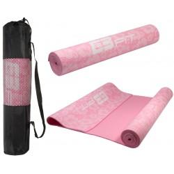 Mata do jogi antypoślizgowa 173x61x5mm flowers różowa z torbą Eb Fit