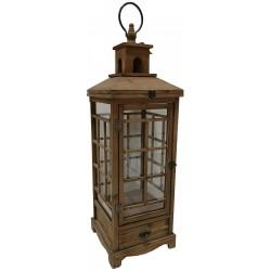 Dekoracyjna lampa drewniana 88cm z szufladą brązowa