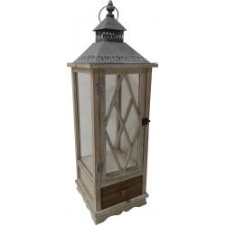 Dekoracyjna lampa drewniana 75cm z szufladą