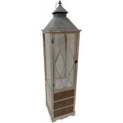 Dekoracyjna lampa drewniana 132cm z szufladą