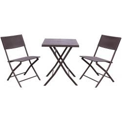 Zestaw mebli balkonowych stolik i 2 krzesła brązowy