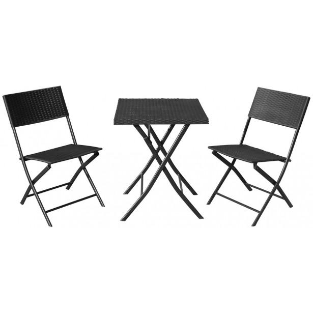 Zestaw mebli balkonowych stolik i 2 krzesła czarny
