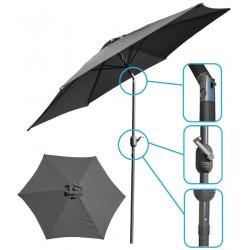 Parasol ogrodowy 250cm składany szary antracyt