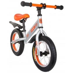 Rowerek biegowy 12 pompowane koła Enero srebrno- pomarańczowy