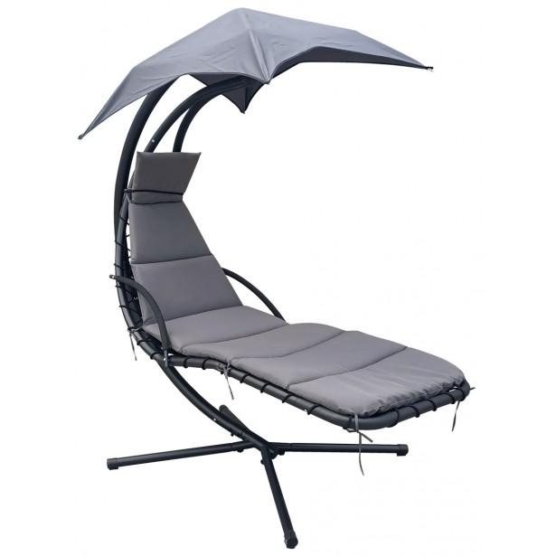 Huśtawka fotel wiszący bujany z parasolem Lizbona szaro-szara