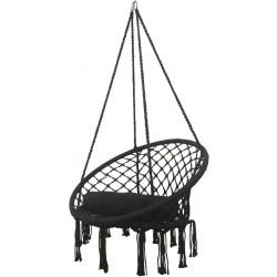 Hamak ażurowy fotel wiszący 80x60cm z poduszką czarny