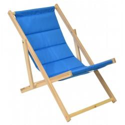 Leżak plażowy składany drewniany deluxe chabrowy Royokamp