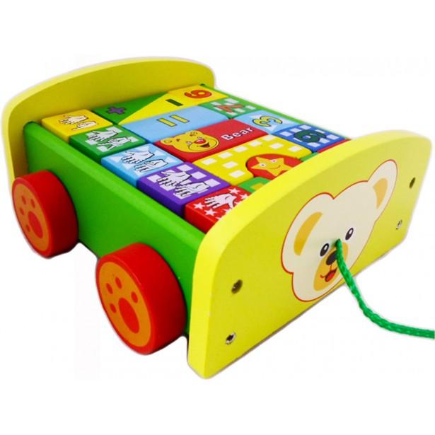 Wózek Z Klockami Miś Żółty