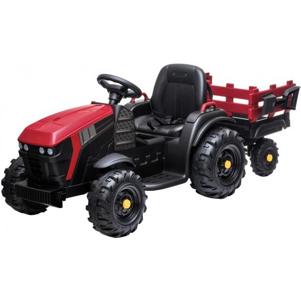 Traktor elektryczny z przyczepą czerwono czarny 1033075