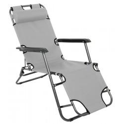 Fotel wielopozycyjny Level z zagłówkiem szary