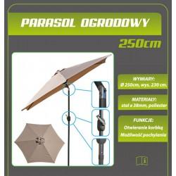 Parasol ogrodowy 250cm składany beżowy antracyt