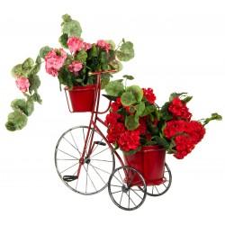 Kwietnik ogrodowy rower 3-kołowy 2 doniczki czerwony