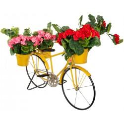 Kwietnik ogrodowy rower 3 doniczki żółty