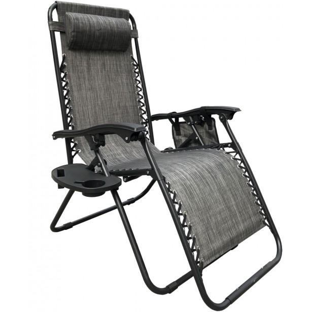 Leżak ogrodowy składany wielofunkcyjny ze stolikiem i gazetownikiem 175x52/65x110cm szary