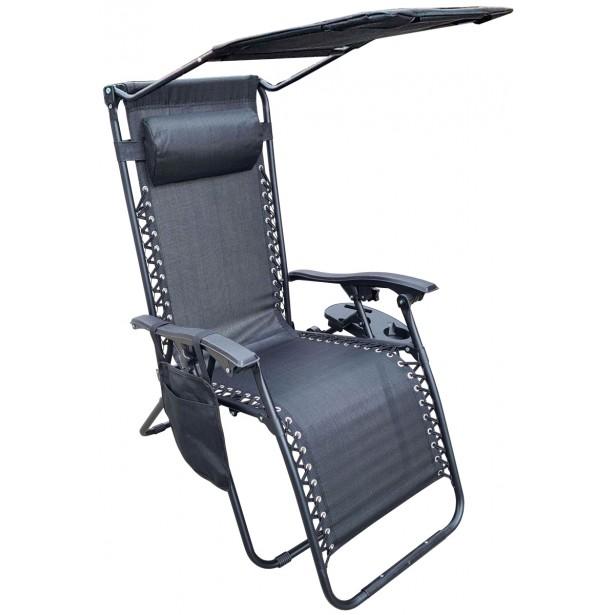 Leżak ogrodowy składany wielofunkcyjny ze stolikiem daszkiem i gazetownikiem 175x52/65x110cm czarny