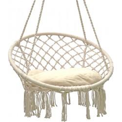 Hamak ażurowy fotel wiszący 80x60cm z poduszką ecru