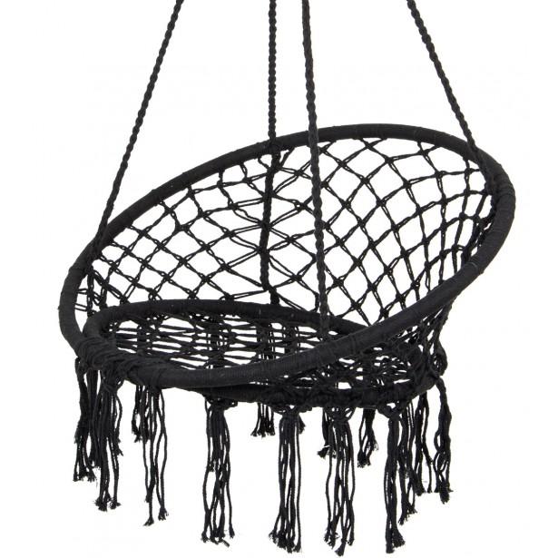 Hamak ażurowy fotel wiszący 80x60cm luxe z poduszką czarny