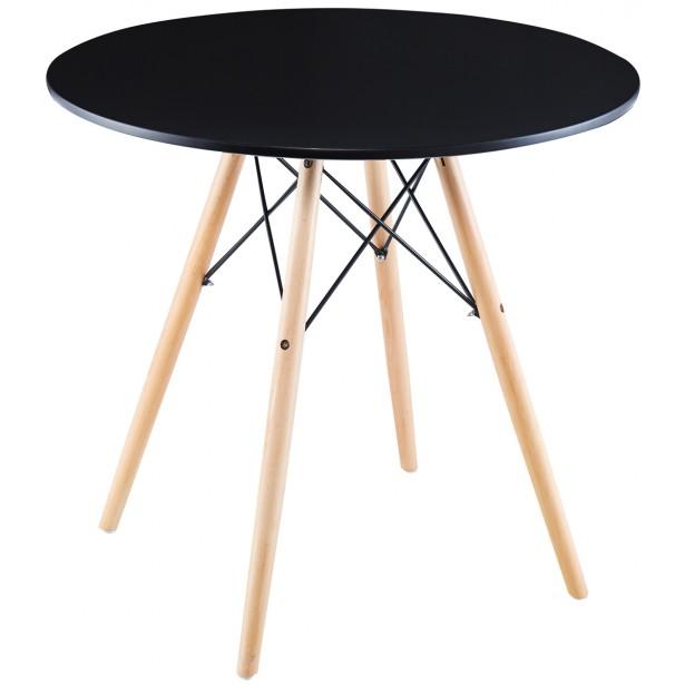 Stół okrągły Matera czarny 80x80cm Saska Garden