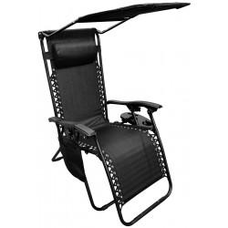 Fotel leżak ogrodowy składany z daszkiem i zagłówkiem czarny