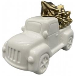 Samochód świąteczny dekoracyjny z choinką 12cm
