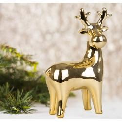 Renifer świąteczny dekoracyjny złoty 16,3cm