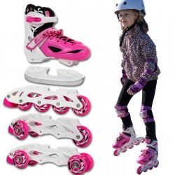 Łyżworolki - 3 Skate - Łyżwy 3W1 Enero 26-29 Różowe