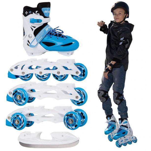 Łyżworolki -3 Skate - Łyżwy - Wrotki 4W1 Enero 34-37 Niebieskie