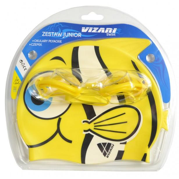 Zestaw Junior Fish Okularki + Czepek Żółty