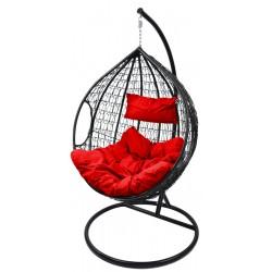 Huśtawka fotel bujany kokon r.XXL czerwony czarny